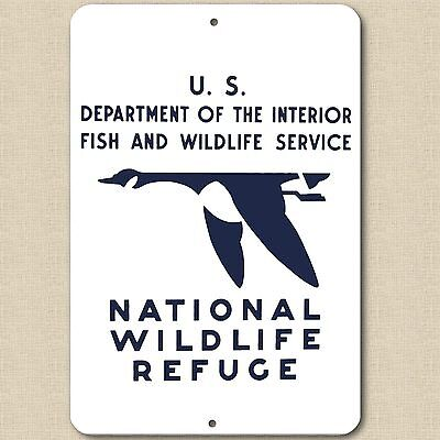"Vintage Replica 1930's NATIONAL WILDLIFE REFUGE - ALUMINUM SIGN 8"" X 12"" NEW"