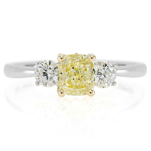 Fancy Yellow 3 Stone Cushion Cut GIA 2.10 Carat Diamond Engagement Ring in Plat