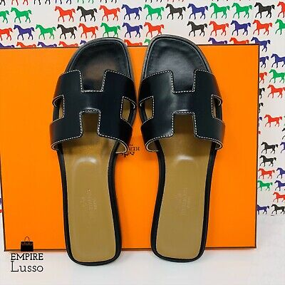 7327afd896ee NEW HERMES ORAN H SANDALS SLIPPERS CLASSIC BLACK BOX WHITE STITCHING 37  650