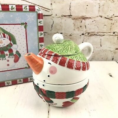 Christmas Tea for One Teapot Snowman Stacked Rosy Cheeks Carrot Nose Lady Jayne