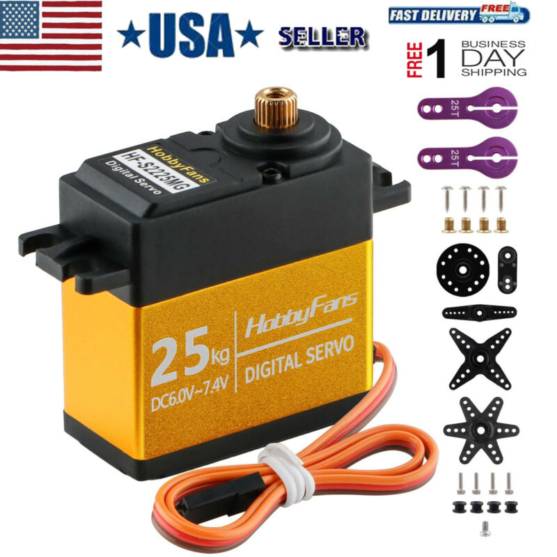 25KG Full Metal Gear High Torque Waterproof Digital Servo with 25T Servo Arm