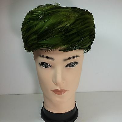 Winkelman's Vintage Women's Green And Black Feather Hat