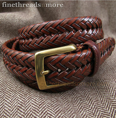 Dockers Leather Braided Belt Brown Dark Tan Brass Buckle 36 NWT NEW