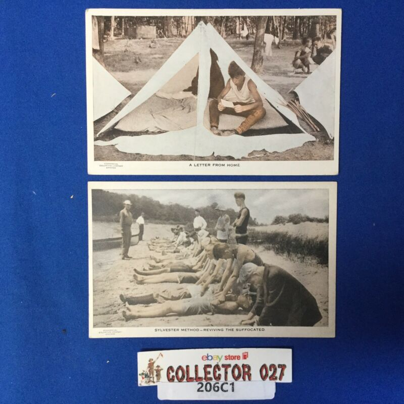 Boy Scout 2 Vintage Post Cards A Letter from Home & Reviving The Suffocated