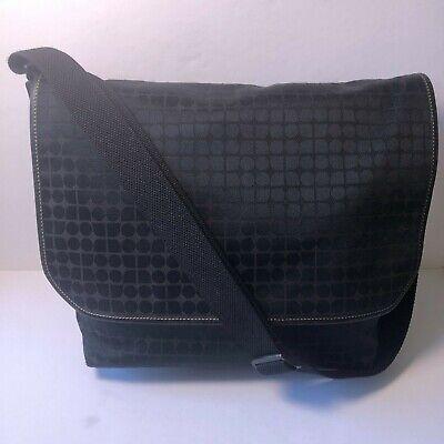 Kate Spade Carry Laptop Shoulder Bag Hook Loop Flap Closure Geometric Design Blk