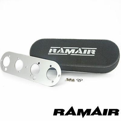 RAMAIR Twin Carb Air Filters & Baseplate Caterham Vauxhall 2.0 16v Weber DCOE
