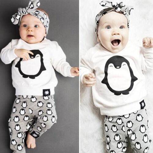 Baby Neugeborene Jungen Mädchen Pinguin Langarm T-Shirt Top Hose Outfit Kleidung