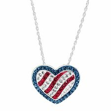 Crystaluxe American Flag Pendant With Swarovski Crystals in Sterling Silver