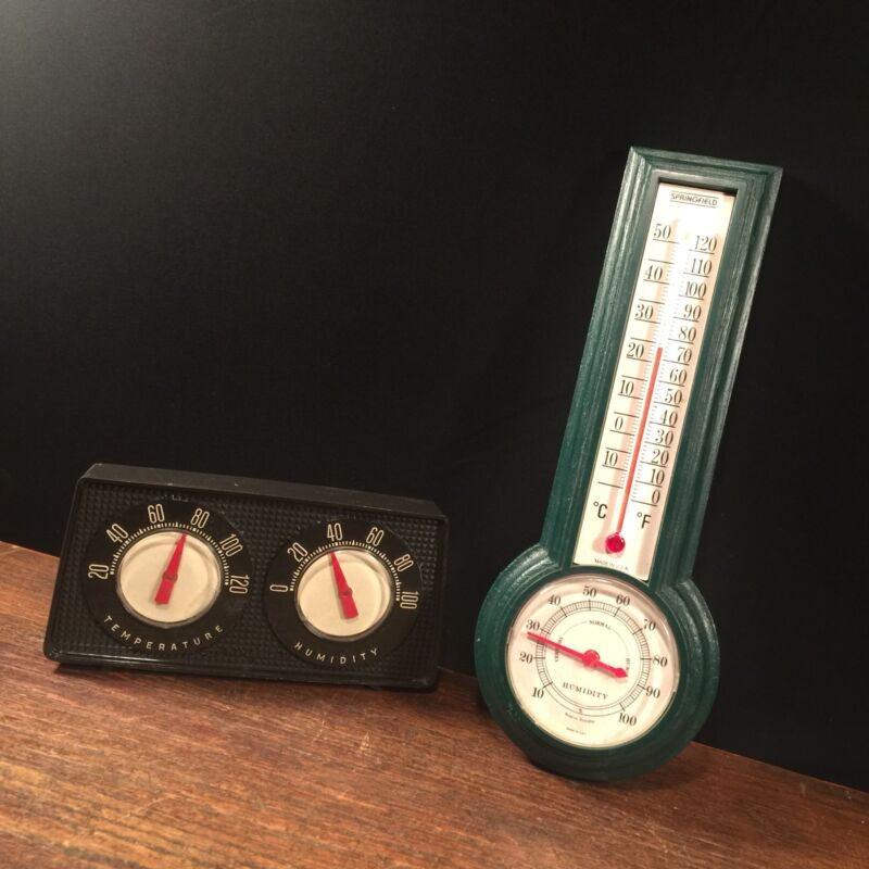 Vtg Thermometer Barometer Lot (2) Humidity USA Temperature Plastic PRIORITY MAIL