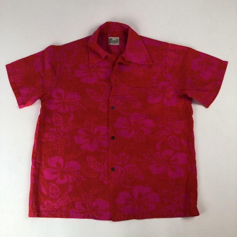 Vtg Diamond Head Sportswear Red & Pink Floral Hawaiian Shirt Missing Button