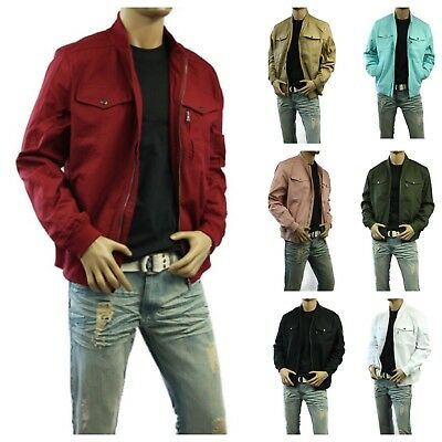 Men's Denim Jean CANVAS JACKET Casual Motorcycle Cotton Air Force Biker Bomber
