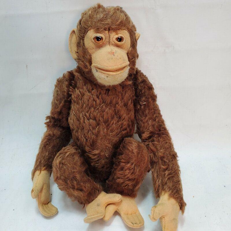 """CUTE! Vtg. Steiff Jocko Monkey Chimp 13"""" Brown Mohair  Open Mouth"""