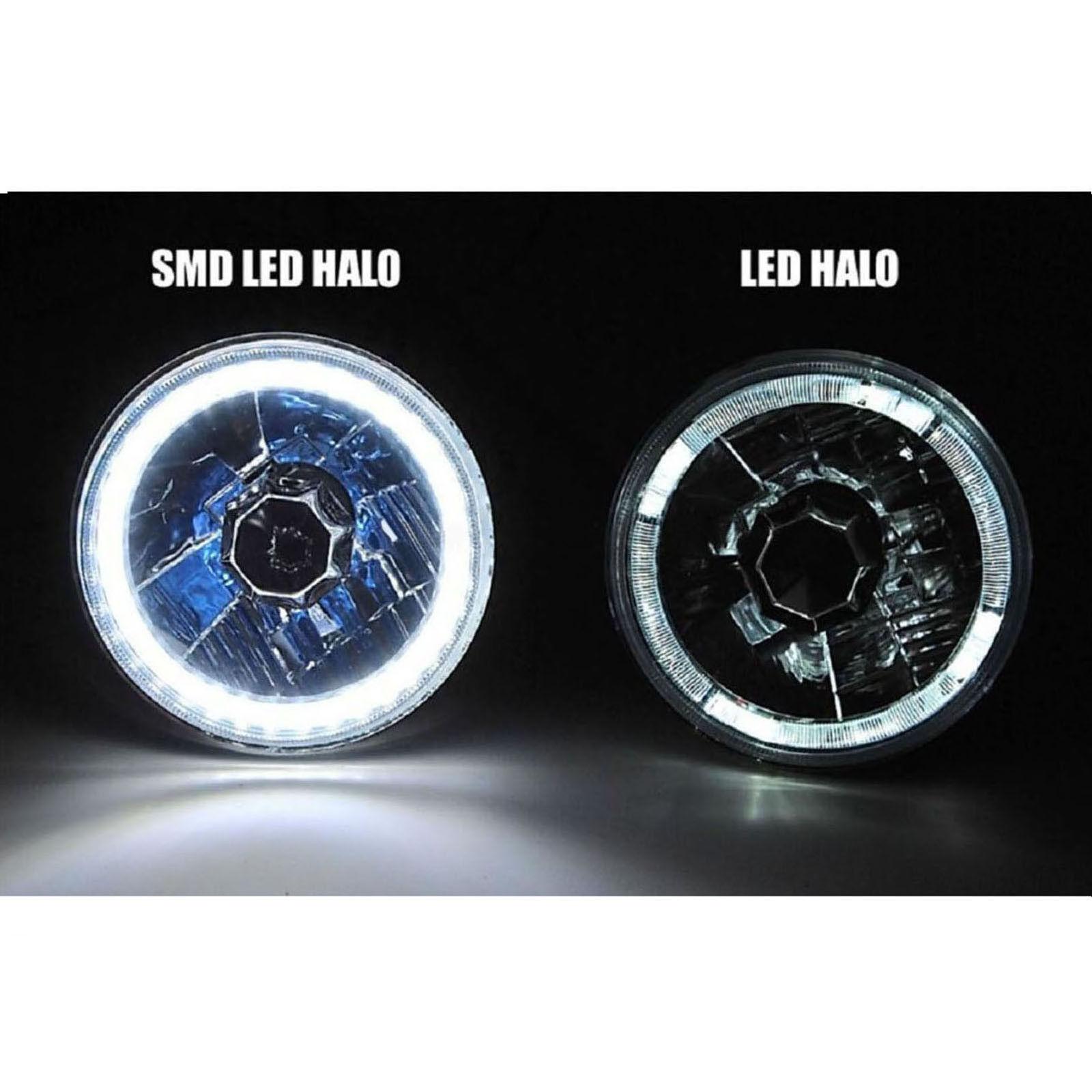 "7/"" Halogen Stock Headlight H4 Headlamp White SMD 45-LED Halo Angel Eye Light 12V"