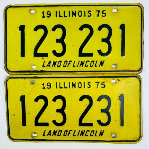Illinois 1975 Pair Vintage License Plate 123 Special Number Man Cave Garage Gift