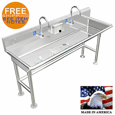 Ada Hand Wash Sink 2 Station 60 Electronic Faucet Free Standing Stainless Steel