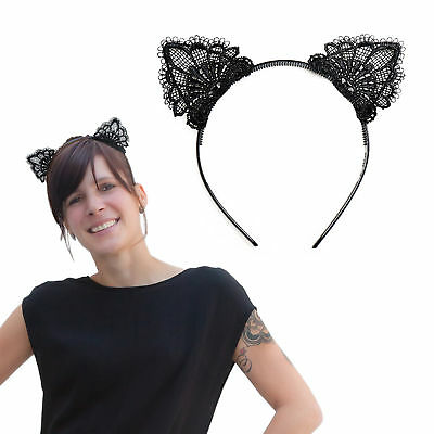 Haarreifen Süße Katzenohren in Schwarz Fasching Karneval Party Kostüm (Katze Kostüm Party)