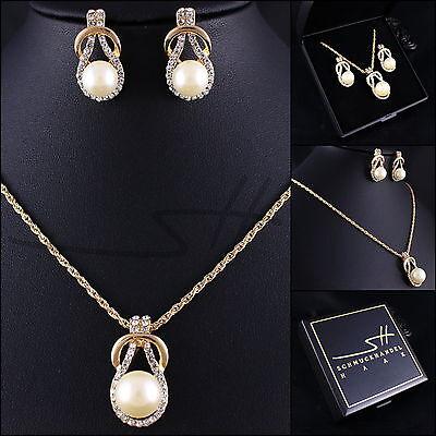 Perlen-Set: Kette+Ohrstecker *Gold-Perle*, vergoldet, Swarovski Elements, - Perle Halskette Set