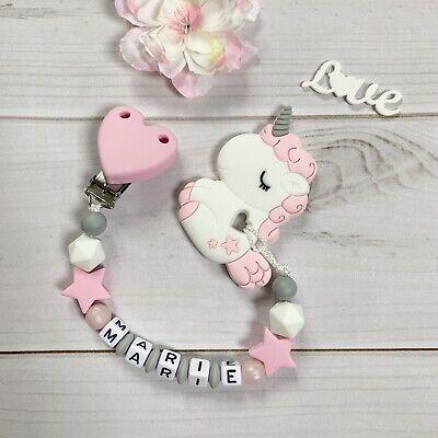 Beißkette Beißring mit Namen Schnullerkette Silikon Einhorn rosa grau weiß