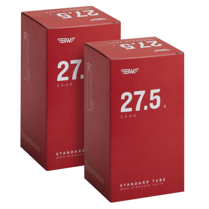 BW Bicycle Inner Tube  – 27.5+ x 2.4-3.0 - 48mm Schrader Valve - 2 Pack