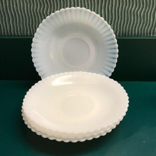 Vintage MacBeth Evans Petalware Monax Saucers, White, Set of 4