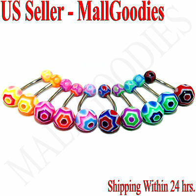 W017 Acrylic Belly Rings 14G Hexagon Shape Lot of 10 Colors Naval Curve Barbells (Hexagon Curved Barbell)