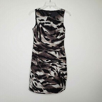 Ann Taylor Animal Print Sheath Dress in Black and Brown Size 2P