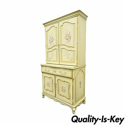 Vintage French Country Provincial Floral Painted Liquor Bar Cocktail Cabinet