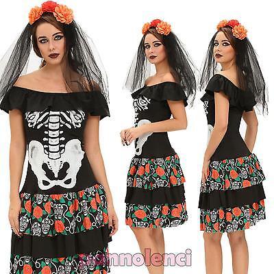 Costume vestito carnevale donna SCHELETRO Regina Frida travestimento - Scheletro Kostüm