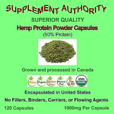 100% Organic Hemp Protein Powder Capsules 1000mg Per Capsule ~ SUPERIOR QUALITY!
