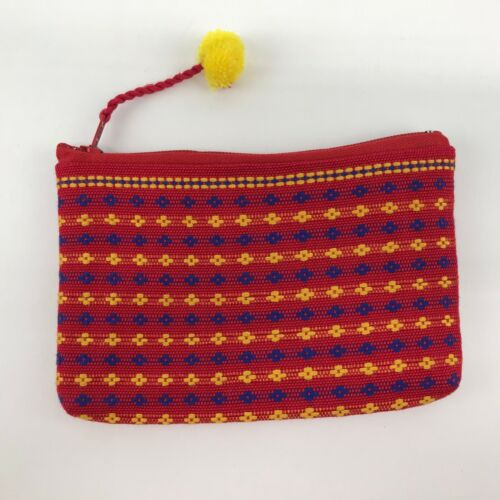 Lahu Hill Tribe Zippered Clutch Bag Handmade Red Embroidered Coin Purse Thai
