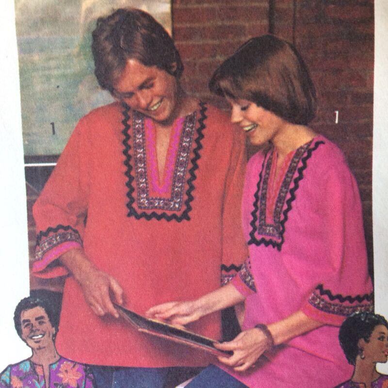 1970s SIMPLICITY 5828 Vtg Pattern Dashiki Shirt Dress Miss XL Sz 16 Bust 38 CUT
