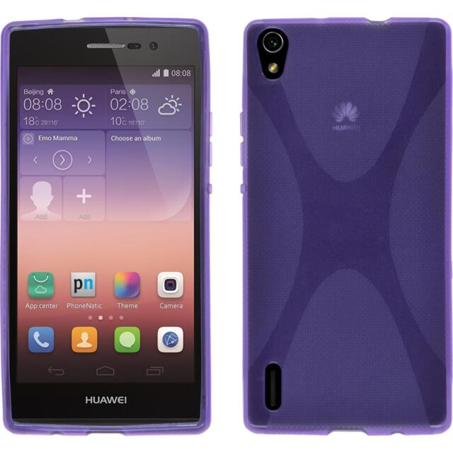 Silicone Case Huawei Ascend P7 - X-Style purple + protective foils