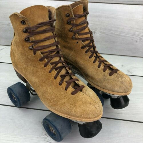 VINTAGE Riedell Sure-grip Jogger Roller Skates Suede Leather Size 7
