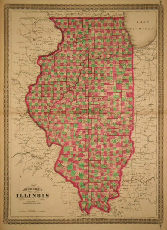 1864 Genuine Antique Hand Colored Map of Illinois. Johnson