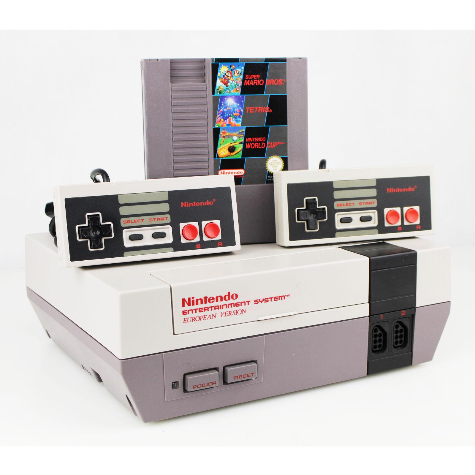 Nintendo Nes Konsole Pal 3in1 Spiel Mario Bros. Tetris World Cup + 2 Controller