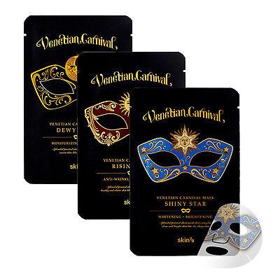 Korea Cosmetics Skin79 Venetian Carnival Essence Face Mask Sheet Pack 3PCS - Venetian Mask Makeup