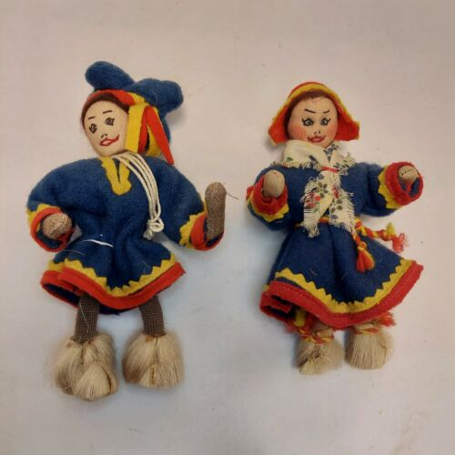 "Lot of 2 - 5"" Vintage Handmade Cloth Dolls Asian Chinese Oriental"
