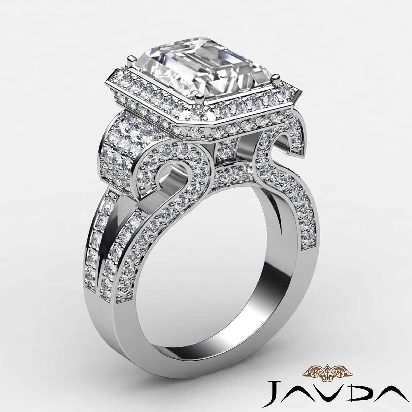 4.4ctw Antique Vintage Halo Emerald Diamond Engagement Ring GIA I-VS1 White Gold 1