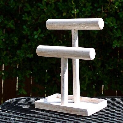 Oak Jewelry Stand With Tray Handmade With Distressed Whitewashed Finish