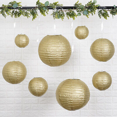 Gold Paper Lanterns (8 GOLD Assorted Sizes Hanging Paper Lanterns Party Wedding Events)