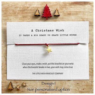 TEACHER Thank You CHRISTMAS Wish Bracelet Nursery, Assistant, Nanny etc Gift - Halloween Thank You Gifts