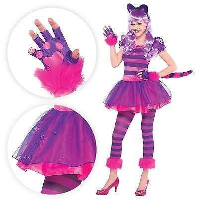 Teen Cheshire Cat Kitty Halloween Fancy Dress Costume Ears Tail Pink Wonderland