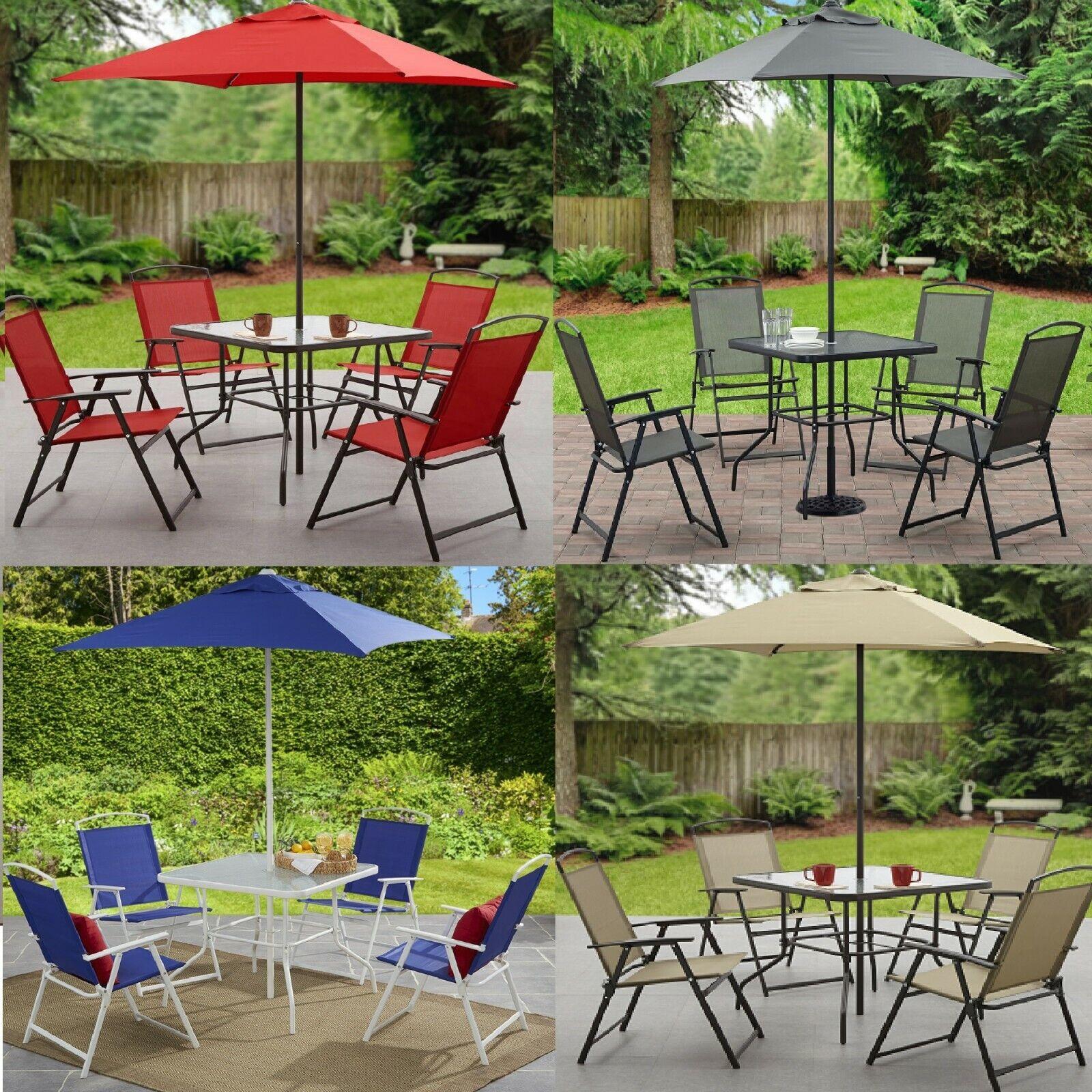 Garden Furniture - 6 Piece Patio Dining Set Outdoor Bistro Table Chairs Umbrella Garden Furniture