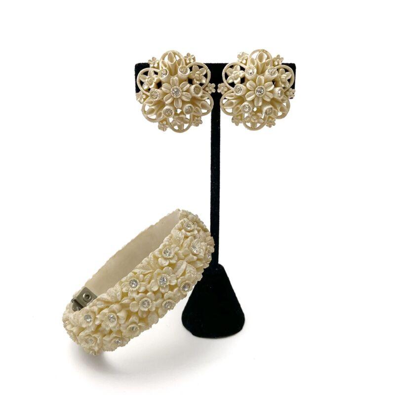 Vintage Cream Carved Celluloid Rhinestone Floral Bangle Bracelet & Earring Set