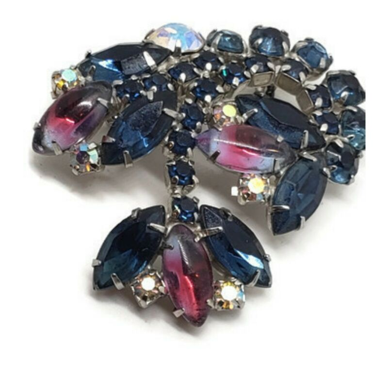 Vintage Brooch Rhinestone Hanging Flower Bi-color ombre Marquise Stones Germany