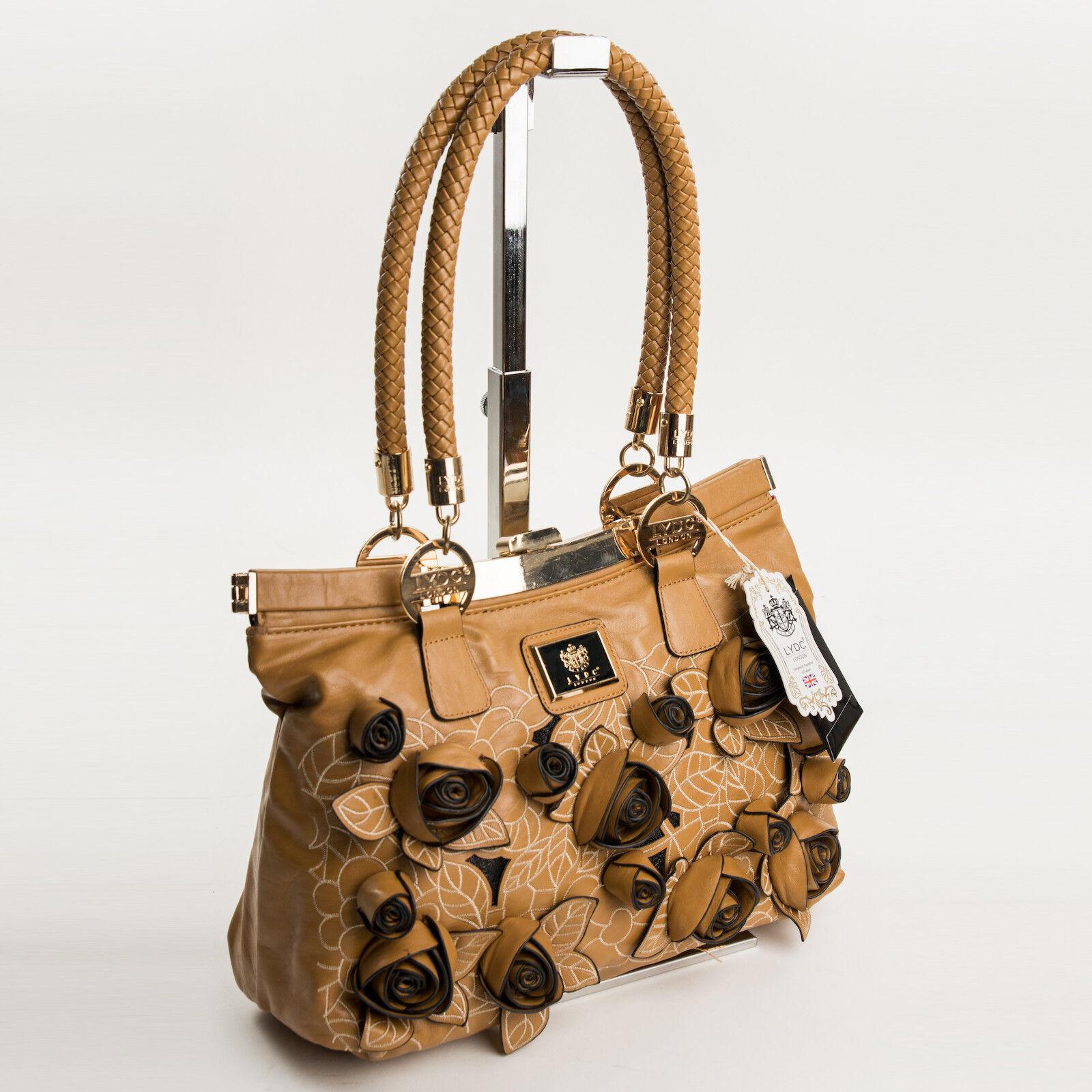 Tote Bag Damentasche Handtasche Tragetasche Cognac 3D Blumen Design by LYDC 395B