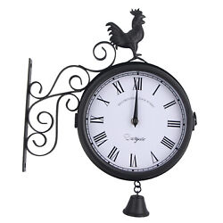 Vintage-Inspired Double Sided Wall Clock Wrought Iron Antique-Look Wall Hanging