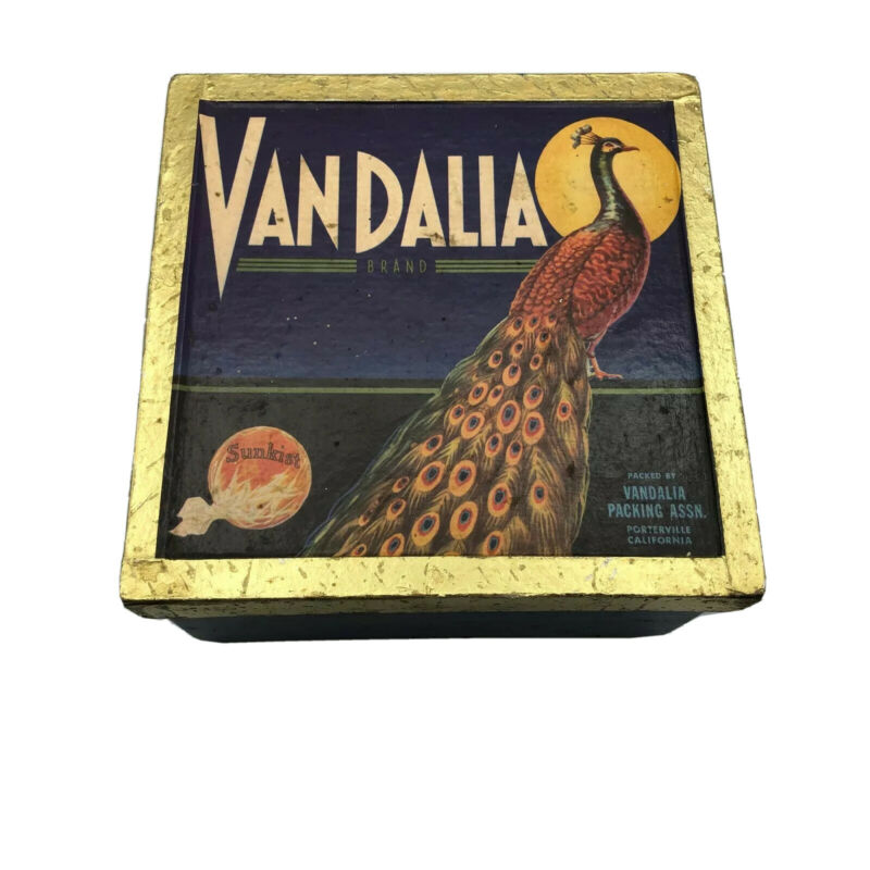 Art Deco Peacock Sunkist Vandalia Advertising Box Crate Porterville CA Vtg  A7