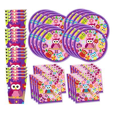 Patchwork Owl Birthday Party Supplies Set Plates Napkins Cups Tableware Kit f...