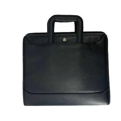 Avenues Black Leather Portfolio Profolio Tuscany Zip Around Three Ring Organizer